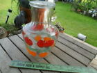 Vintage Anchor Hocking Glass Large Carafe Pitcher With Lid Tomatoes Oranges 8