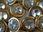 Large 1 inch Acrylic Rhinestone Shank Buttons Gold Gilt fancy Clear 13 pcs 25MM
