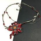 CHICOS Red CRYSTAL  Glass Enamel FLOWER Silver Tone Pendant Necklace HH3k