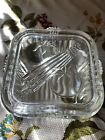 VINTAGE FEDERAL GLASS SQUARE REFRIGERATOR DISH WITH VEGETABLES ON LID