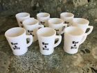 Vintage Tom And Jerry Milk Glass Mug Coffee Cup Holiday Eggnog Punch Set/Lot 9