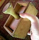 Early Antique Wood Butter Mold Press Dovetail Jointed flower print