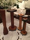 4 Country Primitive Industrial  Wood Bobbins Rustic Farmhouse Candle Holders