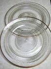 Jeannette Glass ANNIVERSARY Clear 10 Inch Dinner Plates w/ Gold Trim - Set of 2