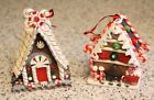 RAZ 4 GINGERBREAD HOUSE ORNAMENT Frosting Peppermint Candy Cane Ornaments
