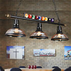 Vintage Balls Pool Metal Billiard Light 3 Lights Table Lamp Game Room Chandelier