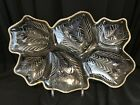 1950's Rare Jeannette Glass Clear 6-Divided Serving Dish Feather