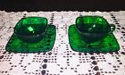 Vintage Forest Green Cup and Saucer Set Of 2 - Charm by Anchor Hocking Glass Co