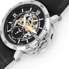 Automatic Mechanical Wristwatch Metal Soft Skeleton Cowhide Strap Mineral Glass
