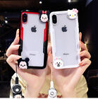3D Cute Hello Kitty Mouse Strap Clear Case Cover for iPhone XS Max XR 6 7 8 Plus