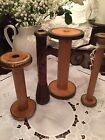 4 Country Primitive Industrial Wood Bobbins Rustic Farmhouse Candle Holders- D