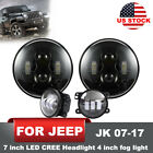 LED Headlight Hi Low Beam Fog Light Right Left Pair for Jeep Wrangler JK 07 17