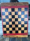 Primitive Wood Checkerboard Gameboard Antique Checkers Board Original Paint
