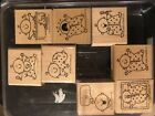 Stampin Up Baby Firsts Set of 8 Wood Mounted Rubber Stamps RETIRED 2000