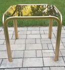 Mid Century Milo Baughman style gold metal accent table glass top  vintage 70s