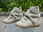 Isabel Marant Suede Concealed Wedge Sneaker Hook  Loop Closure Beige Sz EUR38
