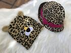 Lot Of Two Girls Accesories Hat & Beanie -cheetah