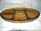 Indiana Heavy Amber Glass Round Divided Relish Dish/Serving Platter