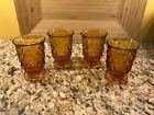 4 Vintage Fostoria Whitehall By Colony Gold Amber Cubist Cube Tumblers 8 oz.