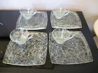 4 Mid Century Modern Hazel Atlas Spaghetti Drizzle Luncheon Snack Plates Cup Set