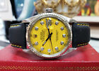 MENS ROLEX OYSTER PERPETUAL DATEJUST STEEL & GOLD DIAMOND YELLOW FACE WATCH