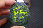 Fine  Chinese Natural black jade carved Zodiac dragon statue jade pendant