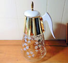 MCM Fred Press Coffee Carafe Dogwood White Flowers Gold Corning Brand