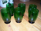 Vintage Forest Green Anchor Hocking Fire King Set of 6 Footed Tumblers