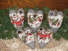 5 Handmade Country Christmas Snowmen fabric heart ornaments Red Truck Home Decor