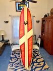 AWESOME 76 MARK WOOSTER SURFBOARD FUN SHAPE LONGBOARD BRIGHT ORANGE GRAPHICS