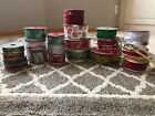 HUGE LOT OF CHRISTMAS RIBBON NEW AND USED ROLLS RETAIL WELL OVER 50 LK