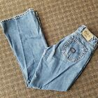 Vintage 90s Silver Jeans Womens Size 28x31 Low Boot Cut Distressed Medium Wash