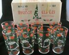 Set of 8 Vintage Christmas Holiday drink glasses Hazel Atlas original box Excell