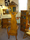Antique oak Hall Seat stand rack tree coat hat 1900's refinished mirror clear
