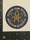 Vintage Freedom From Religion AMERICAN ATHEISTS Iron Sew on PATCH Atheism Logo