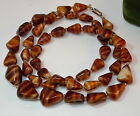Vintage Brown Molded Striped Art Glass Graduated Triangle 28 Necklace 9f 37