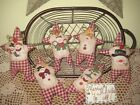 Set of 6 handmade Country Christmas Snowmen fabric Stars ornaments Home Decor