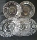 Beautiful Set of 6 Vintage Clear Etched GLASS Sandwich Salad Plates