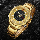NAVIFORCE 9093 Luxury Brand Sport Watches Men Dual Display LED Digital - GOLD