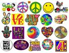 60S HIPPIE PAPER STICKERS 20 SELF ADHESIVE CUT AND READY TO USE