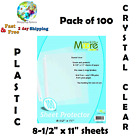 100 Sheets Page Protectors Clear Plastic Document Paper Cover Supplies Office