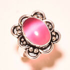 Pink Cats Eye Oval Gemstone 925 Sterling Silver Ring 650 2023