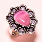 Pink Cats Eye Gemstone 925 Sterling Silver Ring 8 2336