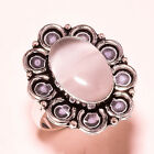 White Cats Eye Gemstone 925 Sterling Silver Ring 8 2369