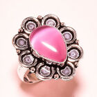Pink Cats Eye Gemstone 925 Sterling Silver Ring 875 2259