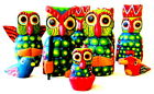 9 piece Guatemalan Hand Carved and Hand painted 6 inch Owl Nativity
