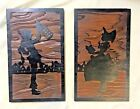 Pair of Antique Art Nouveau Hand Carved Grain Wood Silhouettes Wall Plaques/Art