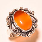 Red Cats Eye Gemstone 925 Sterling Silver Ring 8 1992