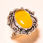 Yellow Cats Eye Oval Gemstone 925 Sterling Silver Ring 650 1993