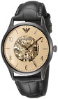 Emporio Armani Mens Skeleton Automatic Watch with Leather Strap AR1923